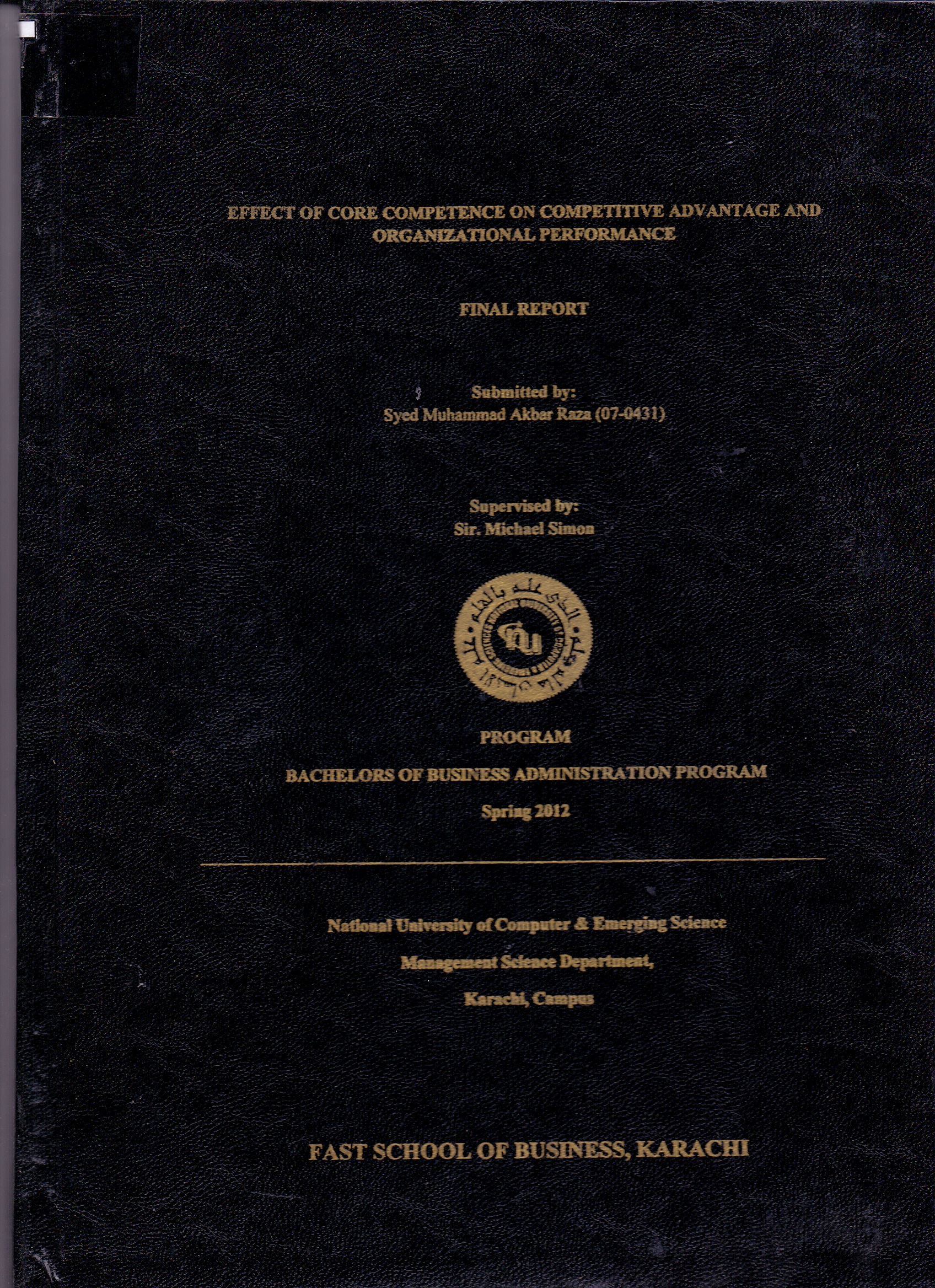 Effect of Competence on Competitive Advantage and Organizational Performance  (07-0431)